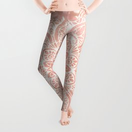 Mandala, Yoga Love, in, Peachy Pink, Boho Art Leggings
