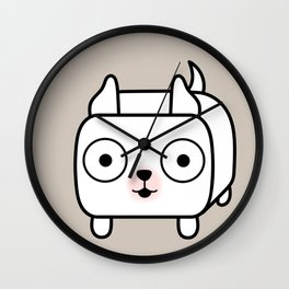 Pitbull Loaf - White Pit Bull with Cropped Ears Wall Clock
