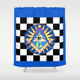 Masonic Square & Compass On Blue Disc Shower Curtain