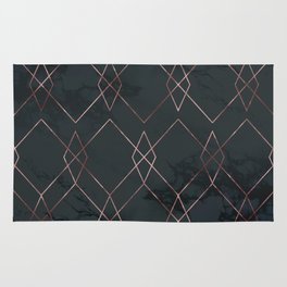 Modern Deco Rose Gold and Marble Geometric Dark Rug