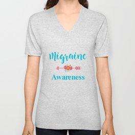 Migraine Headache Pain Awareness Unisex V-Neck