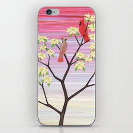 cardinals and dogwood blossoms iPhone Skin