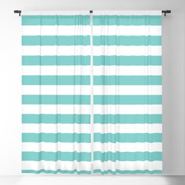 Horizontal Aqua Stripes Blackout Curtain
