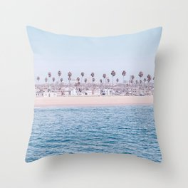 Vintage Newport Beach Print {3 of 4} | Photography Ocean Palm Trees Cool Blue Tropical Summer Sky Throw Pillow