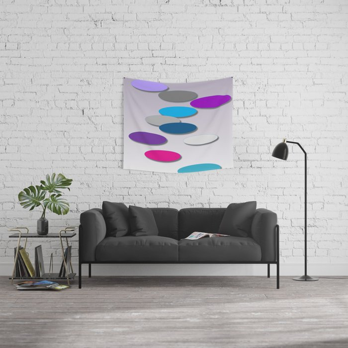 Cool Colors - Large Ovals - Digial Design - Pretty Colors Wall Tapestry