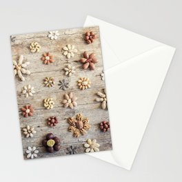 Dried fruits arranged forming flowers (4) Stationery Cards