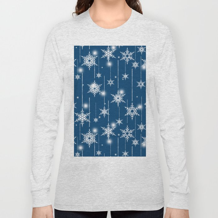 Christmas pattern. White snowflakes on a blue background. Long Sleeve T-shirt