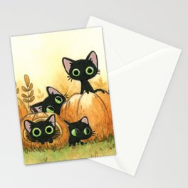 Black cats and pumpkins Stationery Cards