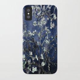 Vincent Van Gogh Almond Blossoms Dark Blue iPhone Case