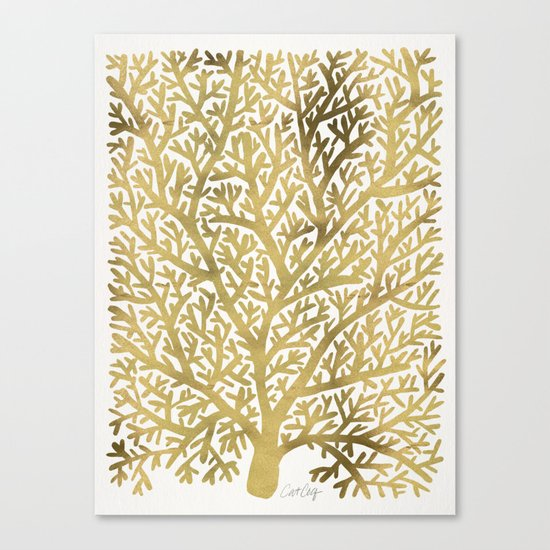 Gold Fan Coral Canvas Print
