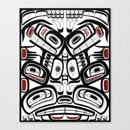 Raven Bear Fox Totem Pole, coastal pacific north west formline design Canvas Print