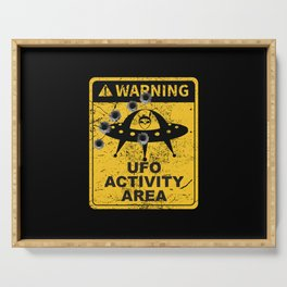 Warning, UFO activity area Serving Tray