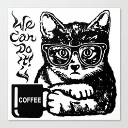Funny cat motivated by coffee Canvas Print