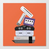 nintendo Canvas Prints featuring Nintendo Consoles by Michael Walchalk