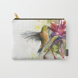 Hummingbird and Fuchsia Watercolor Carry-All Pouch