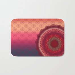 Bohemian Sunset Mandala Purple Red Pink Orange Bath Mat