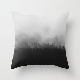 Minimalist Modern Black And white photography Landscape Misty Black Pine Forest Watercolor Effect Sp Throw Pillow
