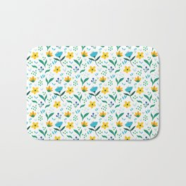 Summer flowers in yellow and blue in white background Bath Mat