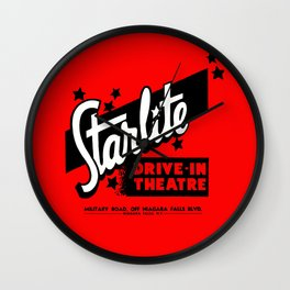 Starlite Drive In Red Wall Clock