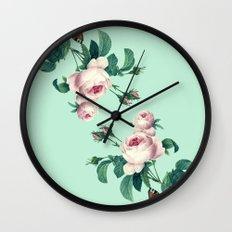 Roses Mint Green + Pink Wall Clock
