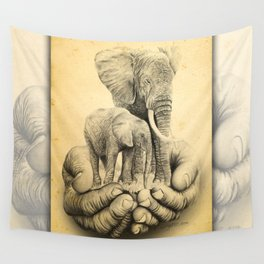 Refuge Elephants Drawing Wall Tapestry