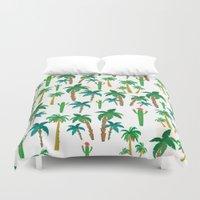palm Duvet Covers featuring palm by Ceren Aksu Dikenci
