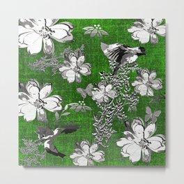 Birds Green Gray White Toile Metal Print
