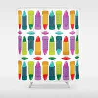 lipstick Shower Curtains featuring Lipstick by Piper Burke