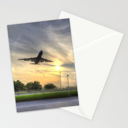 Boeing 747 Sunset Landing Stationery Cards