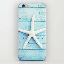 Starfish Beach Photography, Aqua Seashell Art, Coastal Nautical Photograph iPhone Skin