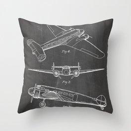 Lockheed Airplane Patent - Electra Aeroplane Art - Black Chalkboard Throw Pillow
