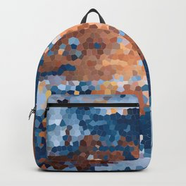 Copper and Denim Abstract Backpack