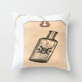 Old But Gold Bottle Stamp Hang Tag  Throw Pillow