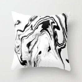 Yumiko - black and white spilled ink abstract painting marble texture pattern marbling marbled paper Throw Pillow