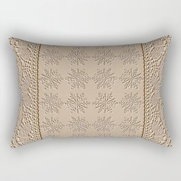 Lace and Stars in Coffee Color Chenille Pattern Rectangular Pillow