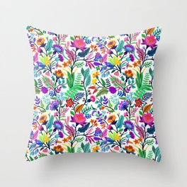 floral pattern with bright colorful flowers and tropic leaves on a white background. Modern floral background. Trendy Folk style. Throw Pillow