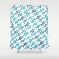 shark Shower Curtains featuring Shark by Michelle McCammon