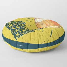 Beer always, vintage poster, circle, yellow Floor Pillow