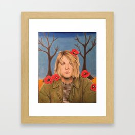 Kurt C Poppy Flower Drawing Colored Pencil Nirvana Heart shaped box Framed Art Print
