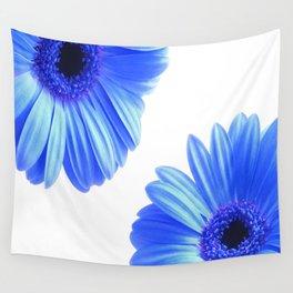 Blue Gerbera Flowers Wall Tapestry