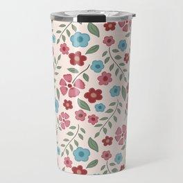 Vintage Floral | Pink, Burgundy, Blue Flowers Travel Mug
