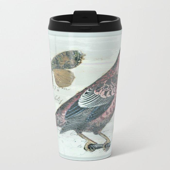 Vintage boho and bird Metal Travel Mug