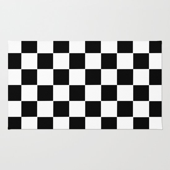 Checker Cross Squares Black Amp White Rug By Beautiful Homes