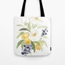 Watercolor Flowers with Blueberries Tote Bag