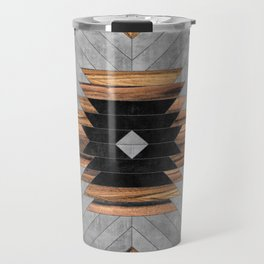Urban Tribal Pattern No.6 - Aztec - Concrete and Wood Travel Mug