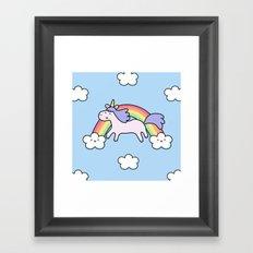 Unicorn with Rainbow Framed Art Print