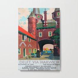 Delft via Harwich Vintage Travel Poster Metal Print