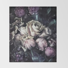 Roses and peonies vintage style Throw Blanket