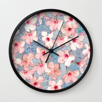 bedding Wall Clocks featuring Shabby Chic Hibiscus Patchwork Pattern in Pink & Blue by micklyn