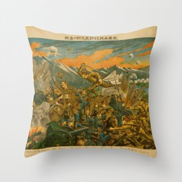 Vintage Print - Illustrations of the Siberian War (1919) - The battle of Usri Throw Pillow
